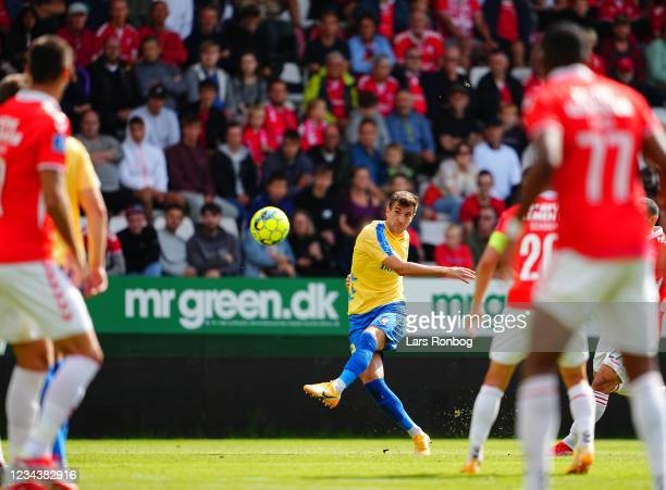 Andrija Pavlovic of Brondby IF in action during the Danish 3F Superliga match between Vejle Boldklub and Brondby IF at Vejle Stadion on August 1,...