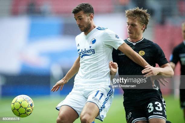 Andrija Pavlovic of FC Copenhagen and Alexander Ludwig of AC Horsens compete for the ball during the Danish Alka Superliga match between FC...