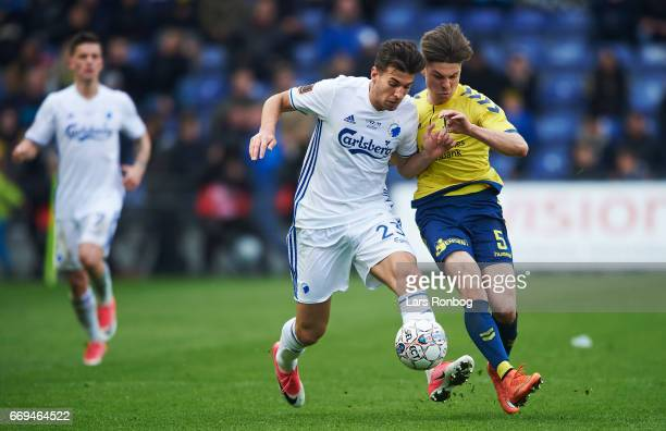 Andrija Pavlovic of FC Copenhagen and Gregor Sikosek of Brondby IF compete for the ball during the Danish Alka Superliga match between Brondby IF and...
