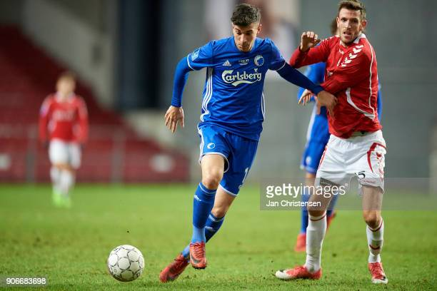 Andrija Pavlovic of FC Copenhagen compete for the ball during the test match between FC Copenhagen and Vejle Boldklub in Telia Parken Stadium on...