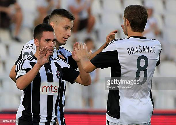 BELGRADE SERBIA AUGUST 29 Andrija Zivkovic celebrates a goal with the Darko Brasanac of FK Partizan during the Serbia Super League match between FK...