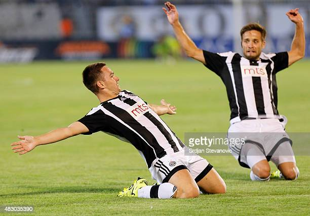 Andrija Zivkovic of FC Partizan Belgrade celebrates the goal during the UEFA Champions League Third Qualifying Round Second Leg match between FC...