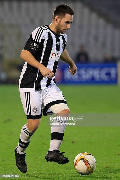 Andrija Zivkovic of FK Partizan in action during the UEFA Europa League match between FK Partizan v Athletic Club at Stadium FK Partizan on October...