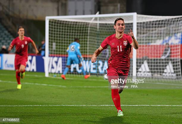 Andrija Zivkovic of Serbia celebrates after scoring the opening goal during the FIFA U20 World Cup Semi Final match between Serbia and Mali at North...