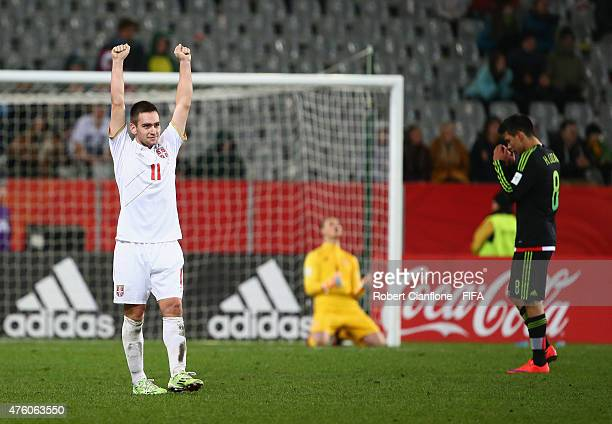Andrija Zivkovic of Serbia celebrates after Serbia defeated Mexico during the FIFA U20 World Cup New Zealand 2015 Group D match between Serbia and...