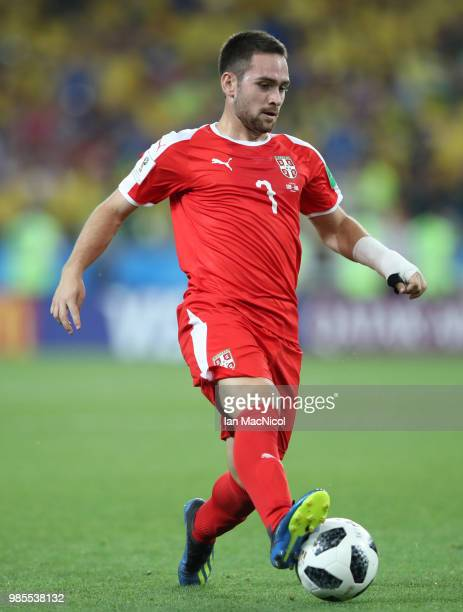 Andrija Zivkovic of Serbia controls the ball during the 2018 FIFA World Cup Russia group E match between Serbia and Brazil at Spartak Stadium on June...
