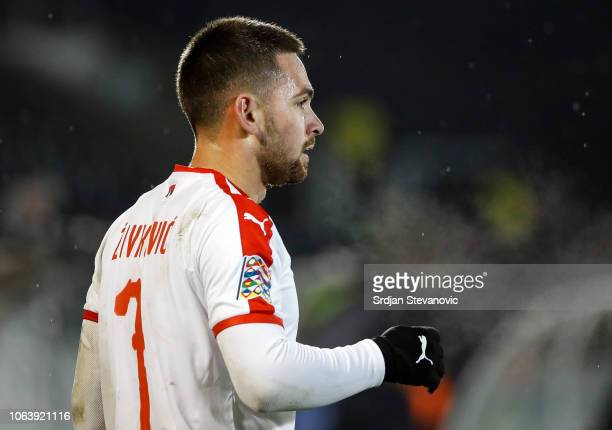 Andrija Zivkovic of Serbia in action during the UEFA Nations League C group four match between Serbia and Lithuania at Stadium FC Partizan on...