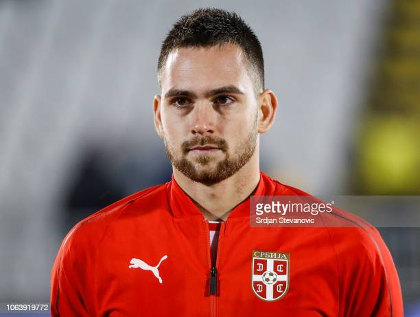 Andrija Zivkovic of Serbia looks on prior to the UEFA Nations League C group four match between Serbia and Lithuania at Stadium FC Partizan on...