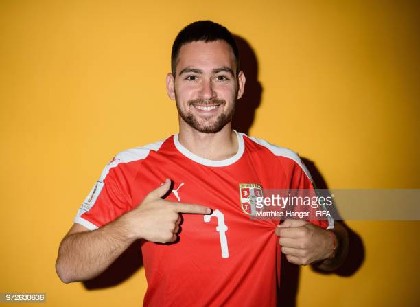Andrija Zivkovic of Serbia poses for a portrait during the official FIFA World Cup 2018 portrait session at on June 12 2018 in Kaliningrad Russia