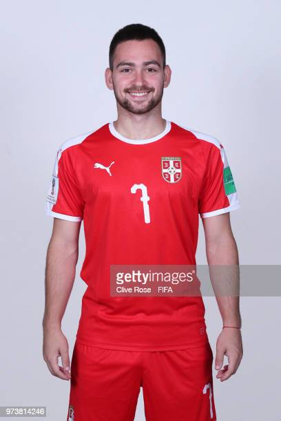 Andrija Zivkovic of Serbia poses for a portrait during the official FIFA World Cup 2018 portrait session at the Team Hotel on June 12 2018 in...