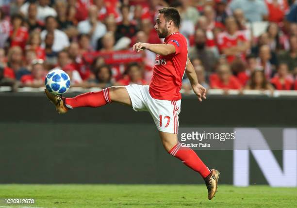 Andrija Zivkovic of SL Benfica controls the ball during the UEFA Champions League Play Off match between SL Benfica and PAOK at Estadio da Luz on...