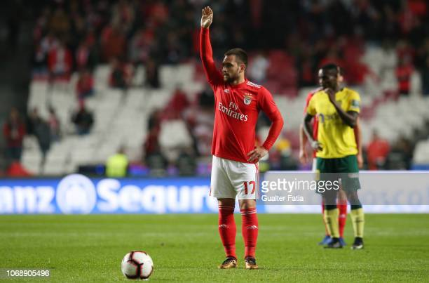 Andrija Zivkovic of SL Benfica in action during the Portuguese League Cup match between SL Benfica and Pacos de Ferreira at Estadio da Luz on...