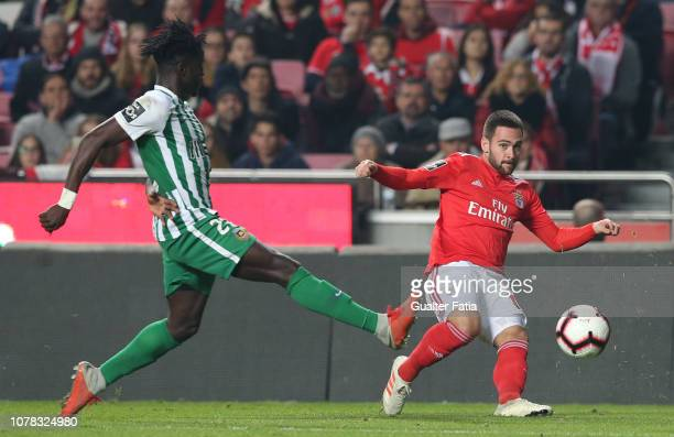 Andrija Zivkovic of SL Benfica with Nadjack of Rio Ave FC in action during the Liga NOS match between SL Benfica and Rio Ave FC at Estadio da Luz on...