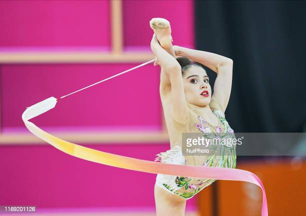 Andrijana Blazic of Serbia during the 37th Rhythmic Gymnastics World Championships at the National Gymnastics Arena in Baku, Azerbaijan on September...