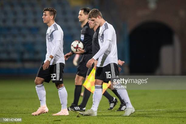 Andriko Smolinski and Samuel Lengle of Germany react after the Germany U19 against Portugal U19 match of UEFA Four Nations Tournament on November 14...