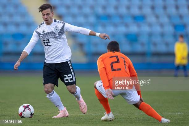 Andriko Smolinski of Germany controls the ball during the Germany U19 against Netherlands U19 UEFA Four Nations Tournament on November 17 2018 in...