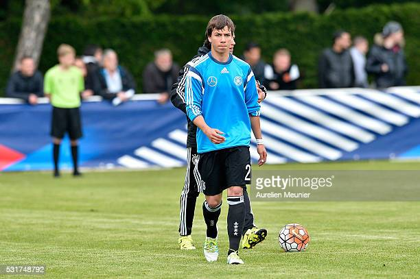 Andriko Smolinski of Germany reacts during warmup before the U16 international friendly match between France and Germany on May 16 2016 in Soissons...