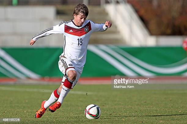 Andriko Smolinski of Germany runs with the ball during the U16 international friendly match between Germany and Czech Republic at Weinaustadion on...