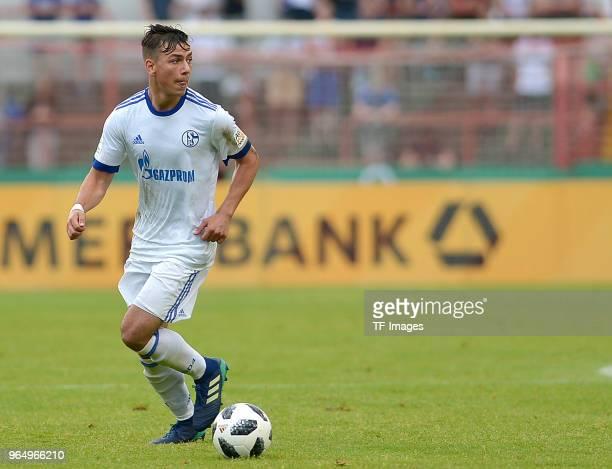 Andriko Smolinski of Schalke controls the ball during the German A Juniors Championship final match between FC Schalke 04 U19 and Hertha BSC U19 at...