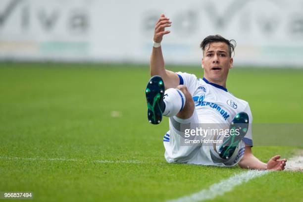 Andriko Smolinski of Schalke reacts during the German A Juniors Championship Semi Final Leg One match between 1899 Hoffenheim and FC Schalke 04 at...
