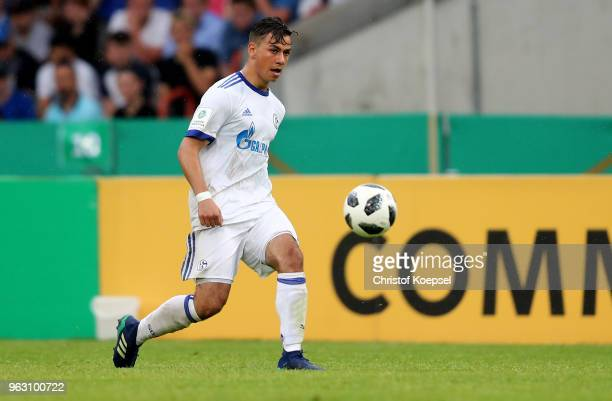 Andriko Smolinski of Schalke runs with the ballm during the German A Juniors Championship Final between FC Schalke 04 U19 and Hertha BSC Berlin U19...