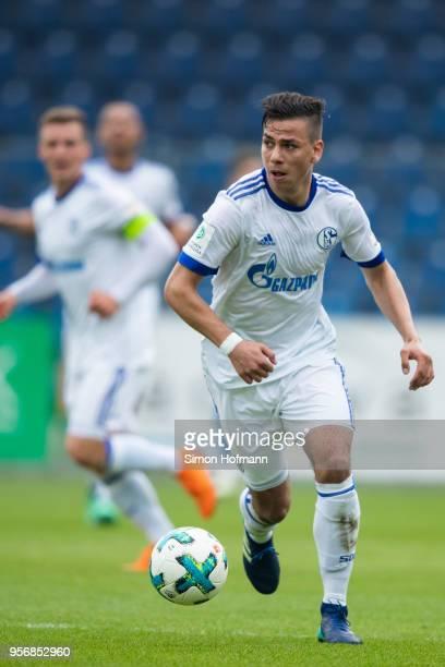 Andriko Smolinskicontrols the ball during the German A Juniors Championship Semi Final Leg One match between 1899 Hoffenheim and FC Schalke 04 at...