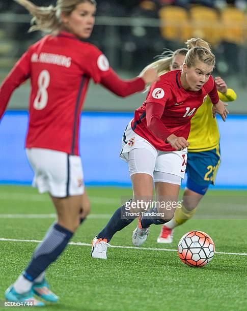 Andrine Hegerberg Ada Hegerberg of Norway during Norway v Sweden Women International Friendly at S¿r Arena on October 24 2016 in Kristiansand Norway