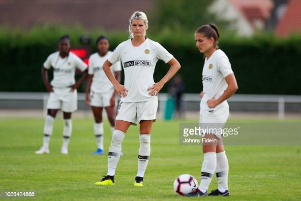 Andrine Hegerberg and Eve Perisset of PSG during Ligue 1 match between Fleury and Paris Saint Germain PSG on August 25 2018 in FleuryMerogis France