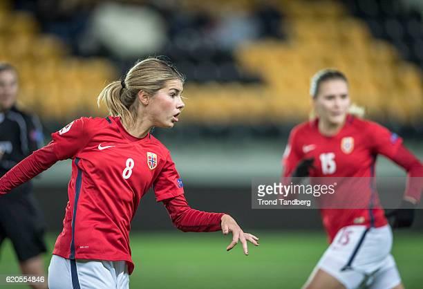 Andrine Hegerberg Ingvild Isaksen of Norway during Norway v Sweden Women International Friendly at S¿r Arena on October 24 2016 in Kristiansand Norway
