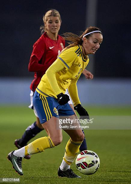 Andrine Hegerberg of Norway competes for the ball with Kosovare Asllani of Sweden during the international friendly match between Norway Women and...