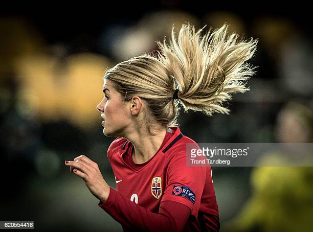 Andrine Hegerberg of Norway during Norway v Sweden Women International Friendly at S¿r Arena on October 24 2016 in Kristiansand Norway