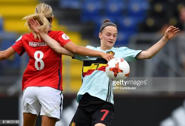 Andrine Hegerberg of Norway vies with Elke Van Gorp of Belgium during the UEFA Women's Euro 2017 football match between Norway and Belgium at the Rat...