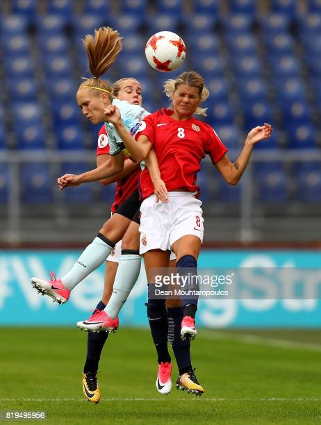 Andrine Hegerberg of Norway wins a header during the UEFA Women's Euro 2017 Group A match between Norway and Belgium at Rat Verlegh Stadion on July...