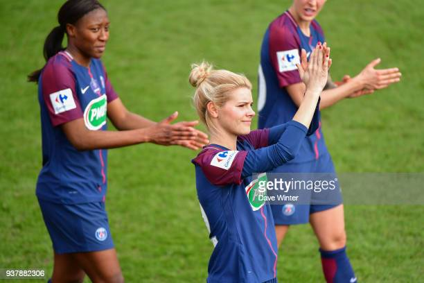 Andrine Hegerberg of PSG salutes the fans following the Women's National Cup match between Paris Saint Germain and Rodez on March 25 2018 in Paris...