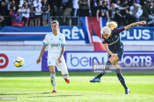 Andrine Hegerberg of PSG shots on goal during the French Women's Division 1 match between Paris Saint Germain and Marseille at Stade Jean Bouin on...