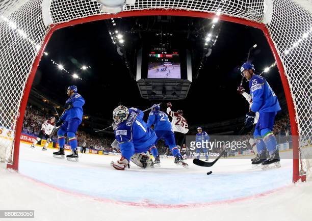 Andris Dzerins of Latvia celebrate the opening goal during the 2017 IIHF Ice Hockey World Championship game between Italy and Latvia at Lanxess Arena...