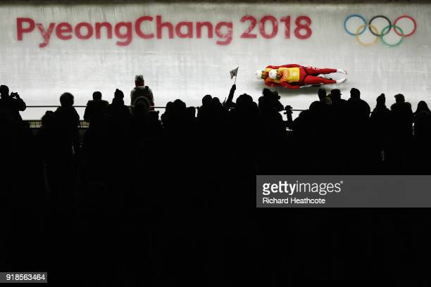Andris Sics and Juris Sics of LatLatvia slide during the Luge Team Relay on day six of the PyeongChang 2018 Winter Olympic Games at Olympic Sliding...