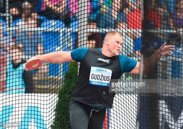Andrius Gudzius of Lithuania from Team Europe competes in the Men Discus Throw event at the IAAF Continental Cup on September 8 2018 in Ostrava Czech...