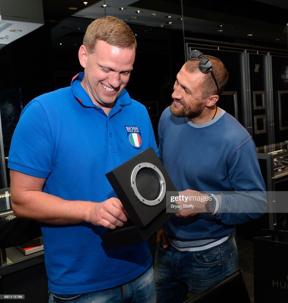 Andrius Krukonis (L) and boxer and Hublot ambassador Sergey Kovalev visit the Hublot Boutique at The Forum Shops at Caesars on June 18, 2017 in Las Vegas, Nevada.