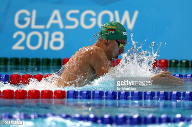 Andrius Sidlauskas of Lithuania competes in the Men's 4 x 100m Medley Relay Heat 3 during the swimming on Day eight of the European Championships...