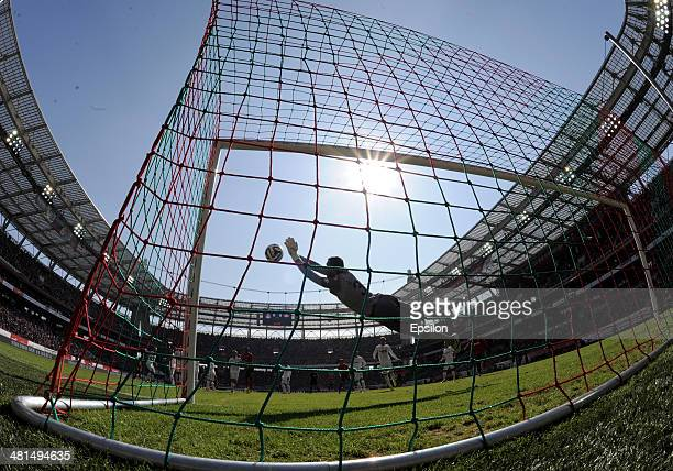 Andriy Dykan of FC Spartak Moscow makes a save during the Russian Premier League match between FC Lokomotiv Moscow and FC Spartak Moscow at Lokomotiv...