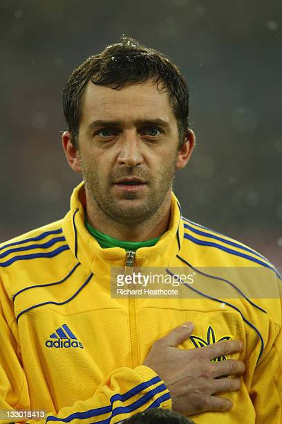 L'VIV UKRAINE NOVEMBER 15 Andriy Dykan of Ukraine sings the national anthem during the International Friendly match between Ukraine and Austria at...