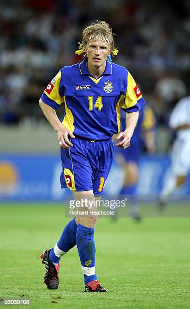 Andriy Gusin of the Ukraine in action during the FIFA World Cup 2006 group 2 qualification match between Greece and Ukraine held at the Georgios...