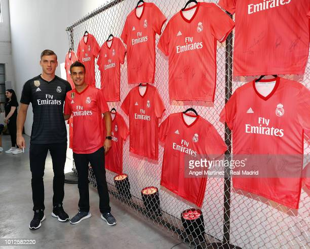Andriy Lunin and Sergio Reguilon of Real Madrid pose during the new third kit launch on August 6 2018 in New York NY