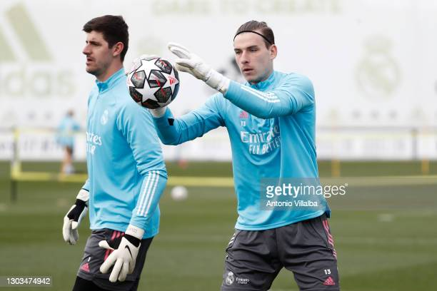 Andriy Lunin and Thibaut Courtois from Real Madrid at Valdebebas training ground on February 22, 2021 in Madrid, Spain.