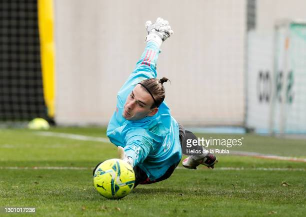 Andriy Lunin during a Real Madrid training session at Valdebebas training ground on February 08, 2021 in Madrid, Spain.