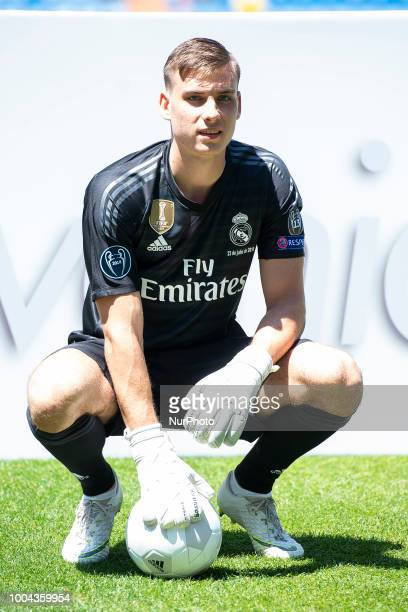 Andriy Lunin during his presentation as new Real Madrid goalkeeper at Santiago Bernabéu Stadium in Madrid Spain July 23 2018