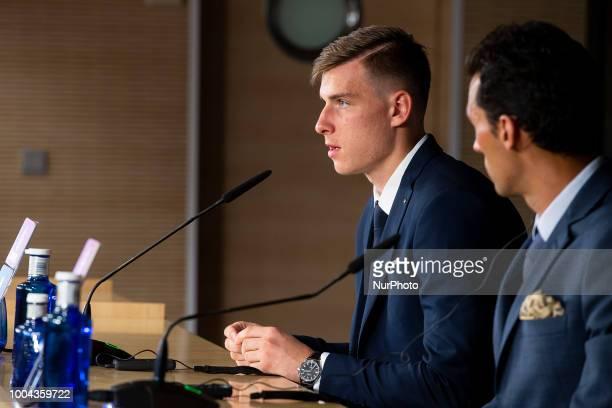 Andriy Lunin during press conference of his presentation as new Real Madrid goalkeeper at Santiago Bernabéu Stadium in Madrid Spain July 23 2018