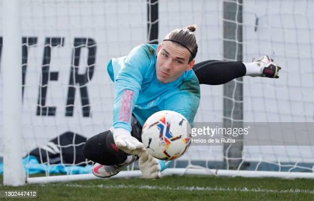 Andriy lunin from Real Madrid at Valdebebas training ground on February 16, 2021 in Madrid, Spain.