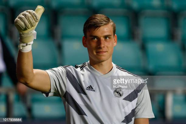 Andriy Lunin gestures during the warmup ahead of the UEFA Super Cup match between Real Madrid and Atletico Madrid on August 15 2018 at Lillekula...